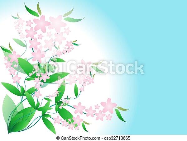 flores côr-de-rosa, ramos - csp32713865