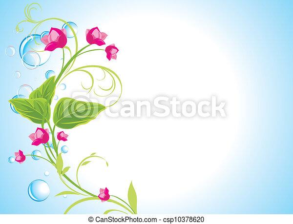 flores côr-de-rosa, sprig, gotas - csp10378620