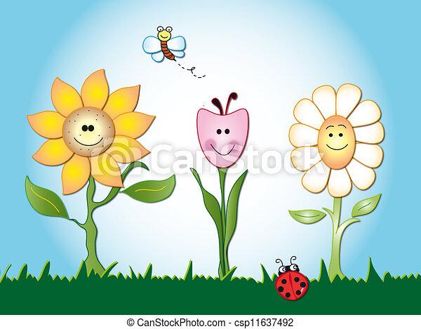 flores, caricatura - csp11637492