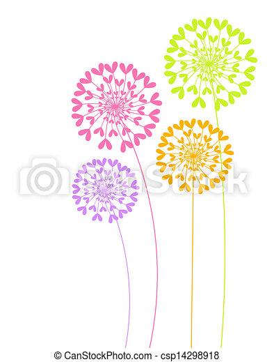 Flores coloridas de diente de león - csp14298918
