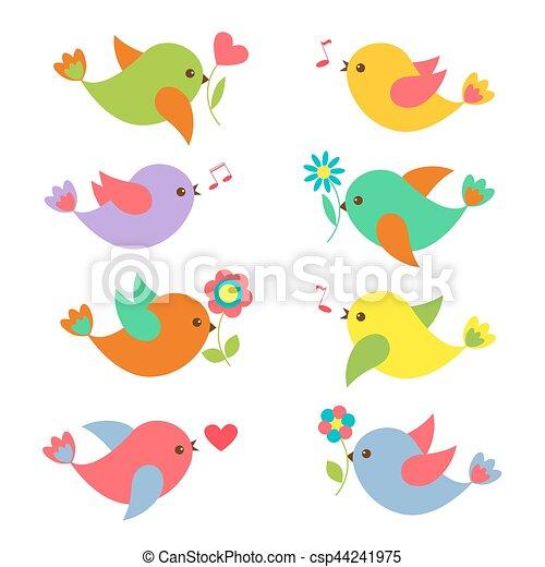 Flores, coloridos, springtime, pássaros. Elementos, coloridos ...