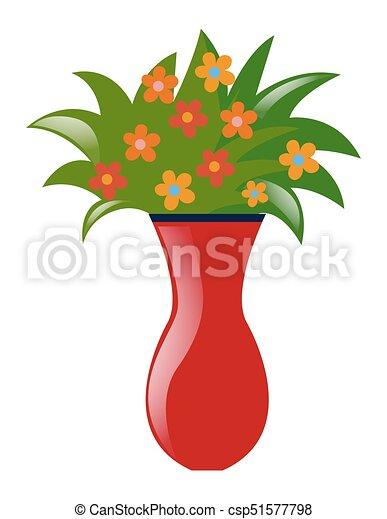 Flores Coloridos Vaso Flores Coloridos Ilustracao Vaso