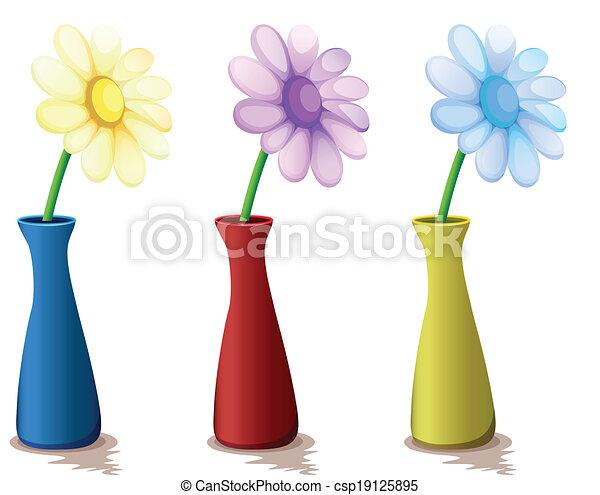 Flores Coloridos Vasos Coloridos Ilustracao Fundo Vasos