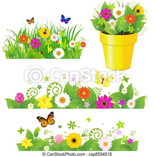 Hierba verde con flores puestas - csp8594518
