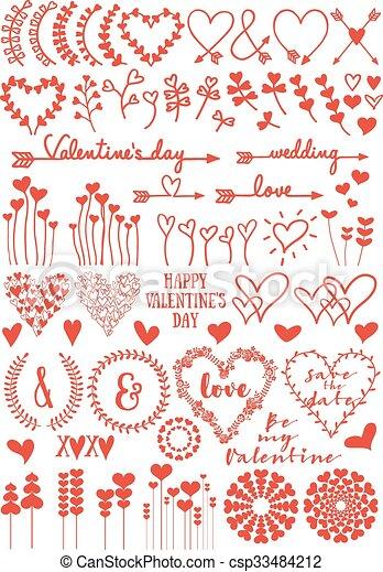 Flores del corazón, vector fijado - csp33484212