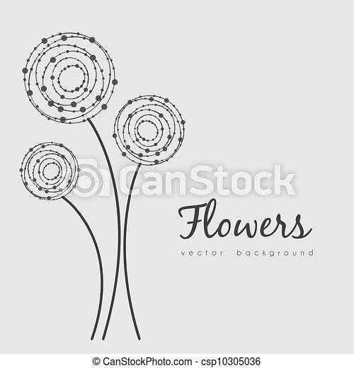 Flores Delicado Pontos Feito Linhas Ilustracao Circulos