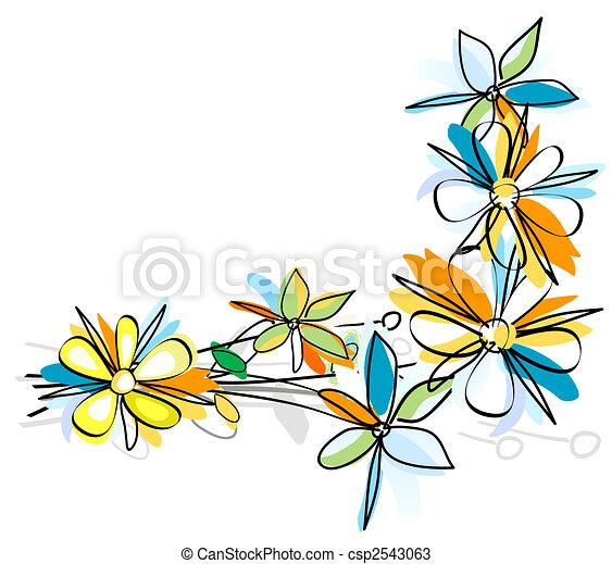 Flores Estilo Flor Marco Color Agua Pintura