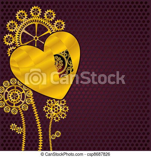 flores douradas, engrenagem, coração - csp8687826