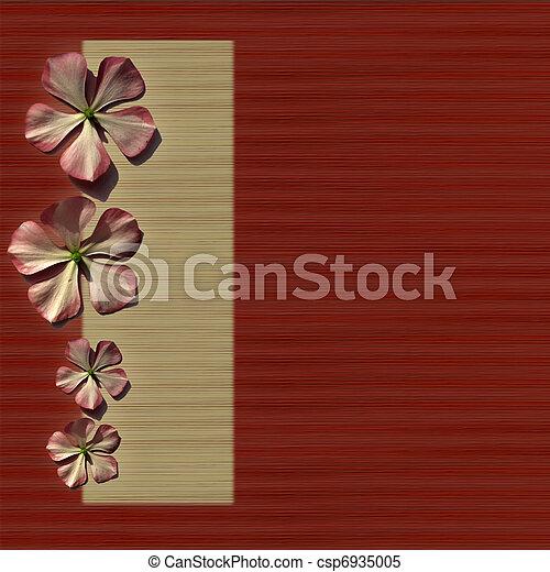 flores, fondo rojo, crema - csp6935005