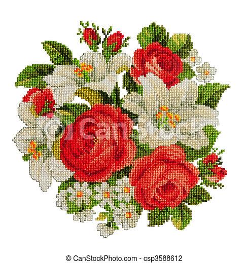Flores Punto De Cruz Ramo