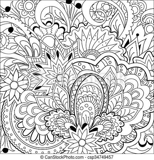 Flores Garabato Hierba Zen Mandalas Cachemira Colorido 10