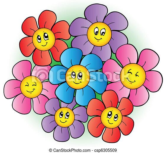 Un grupo de flores de dibujos animados - csp6305509