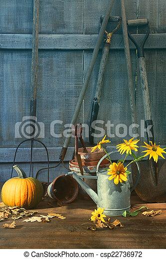Calabaza y flores con herramientas - csp22736972