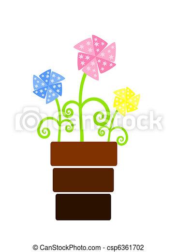 Tres flores de admiradores en florero - csp6361702