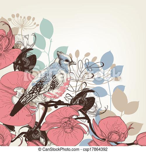 flores, orquídea, retro, plano de fondo, pájaro - csp17864392