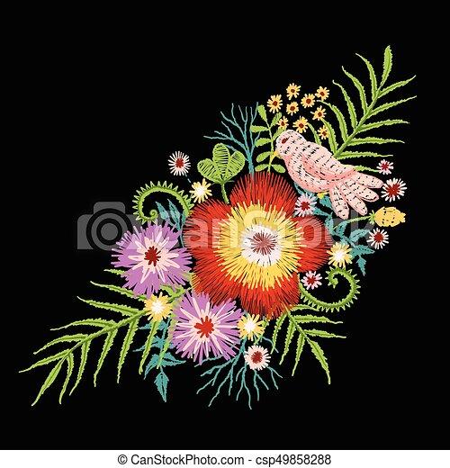Flores Passaro Bordar Ficar Bonito Pequeno Ramo Ilustracao