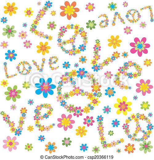flores, papel pintado - csp20366119