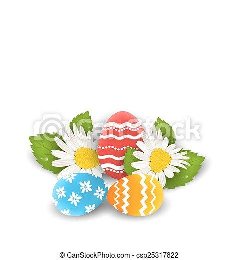 flores, pascua, colorido, espacio, texto, huevos, camomiles, tradicional, florido, copia, su - csp25317822