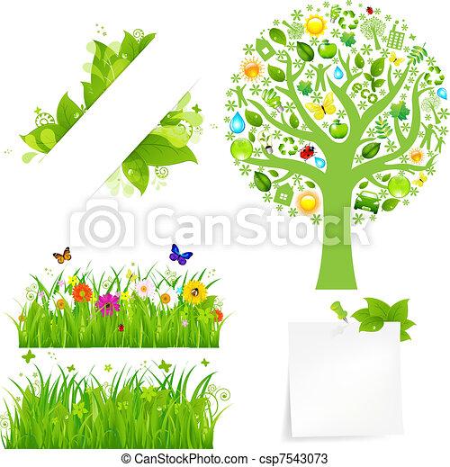Hierba verde con flores y árboles - csp7543073