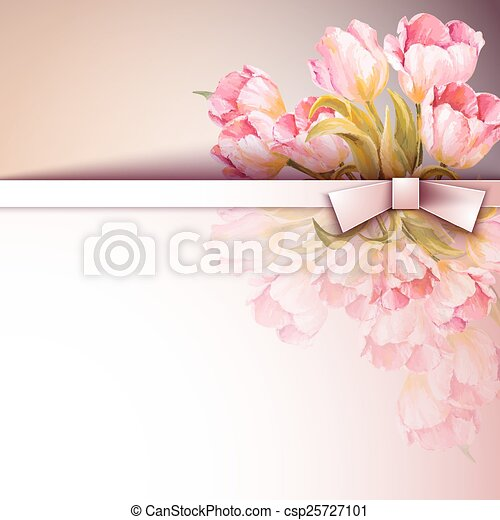 flores, primavera, convite, modelo - csp25727101