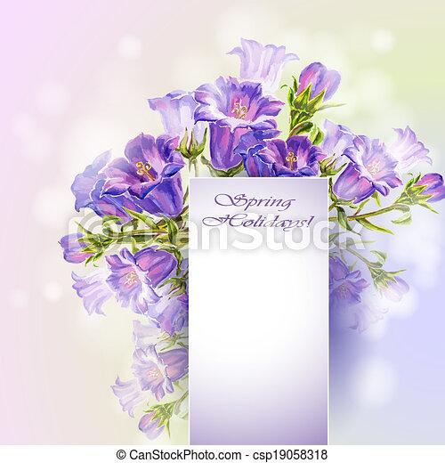 Las flores de primavera invitan a plantilla - csp19058318