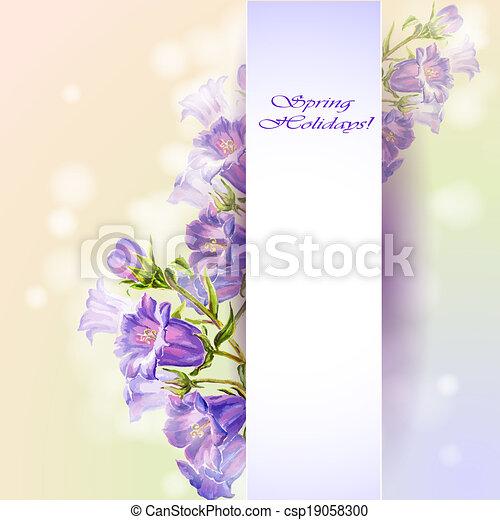 Las flores de primavera invitan a plantilla - csp19058300