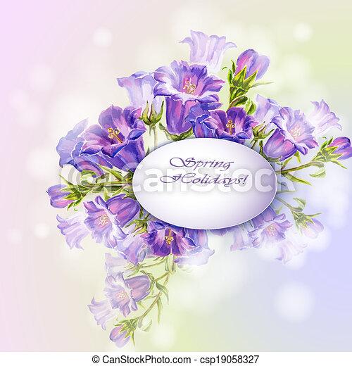 Las flores de primavera invitan a plantilla - csp19058327