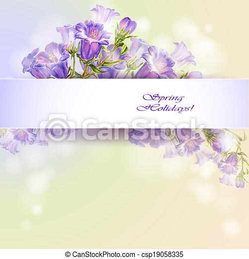 Las flores de primavera invitan a plantilla - csp19058335