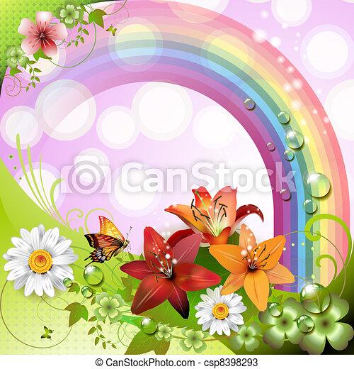 flores, primavera, plano de fondo - csp8398293