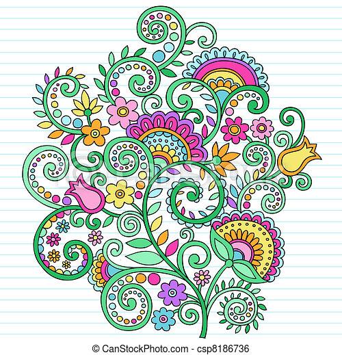 El psicodélico dibuja flores y viñas - csp8186736