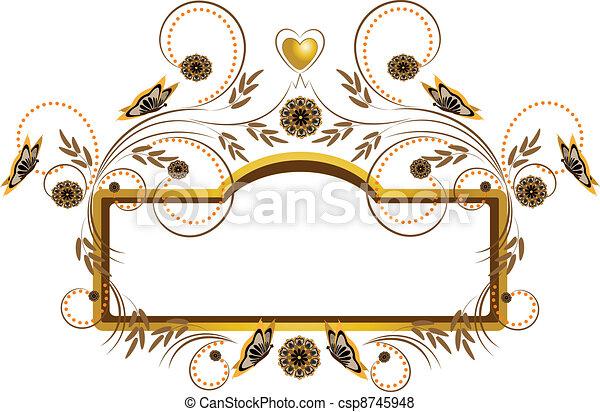 flores, quadro, borboletas - csp8745948