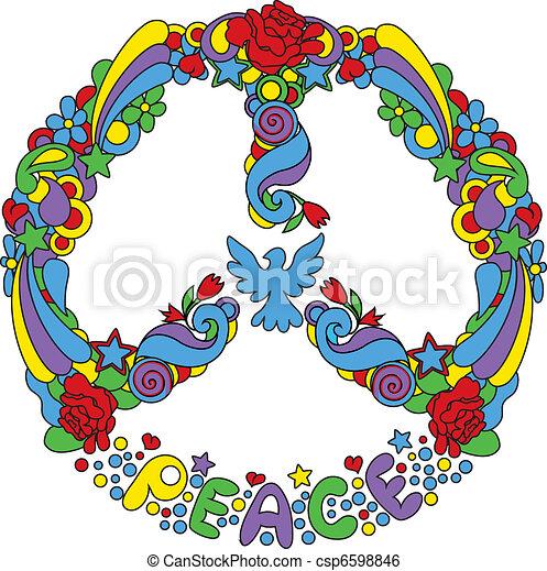 Simbolo de paz con flores - csp6598846