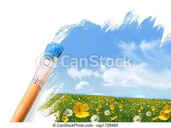 Pintando un campo lleno de flores silvestres - csp1728480