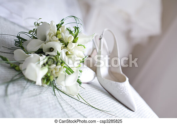 flores, shoes, boda - csp3285825