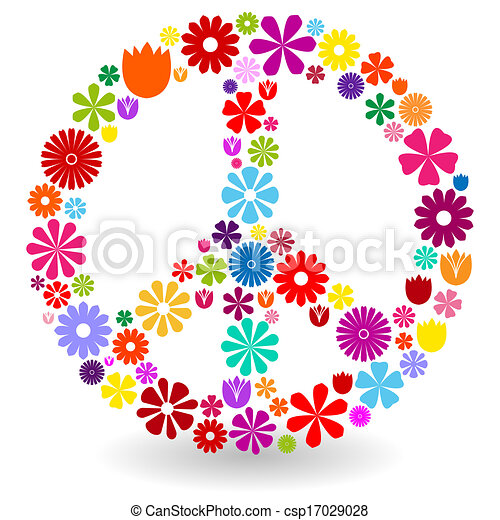 flores, sinal, paz, feito - csp17029028