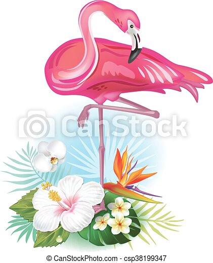 Flores Tropicales Flamenco Arreglo