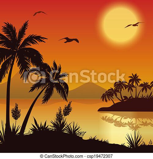 Ilustracin de archivo de flores tropicales palmas aves islas
