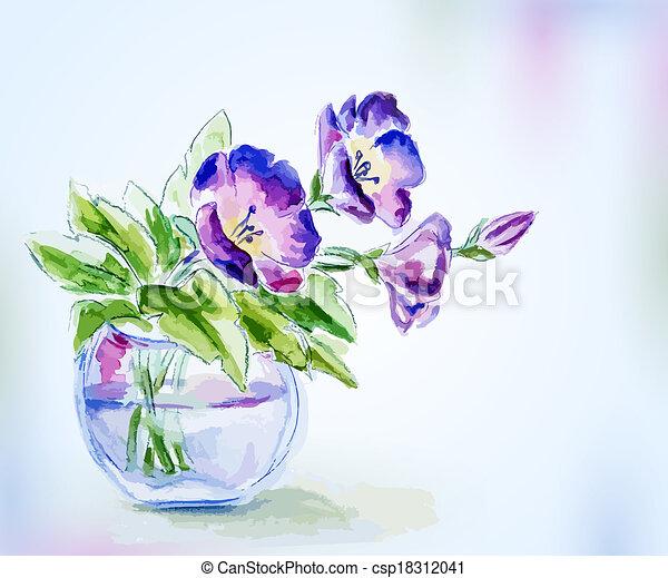 Flores de acuarela primavera en florero. - csp18312041