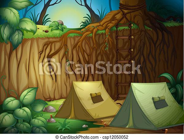 floresta, acampamento, barracas - csp12050052