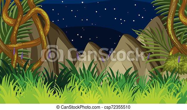 Floresta Desenho Paisagem Fundo Noturna Ilustracao Desenho