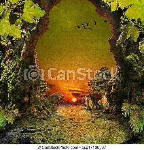 floresta, romanticos, vista - csp17106567