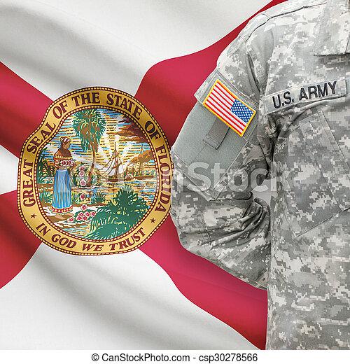 florida, -, állam, bennünket, katona, lobogó, háttér, amerikai - csp30278566