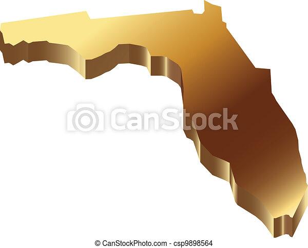 Florida 3D gold map - csp9898564