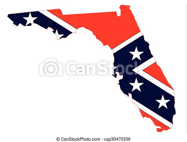 florida map and confederate flag outline of the map of vectors rh canstockphoto com  confederate clipart