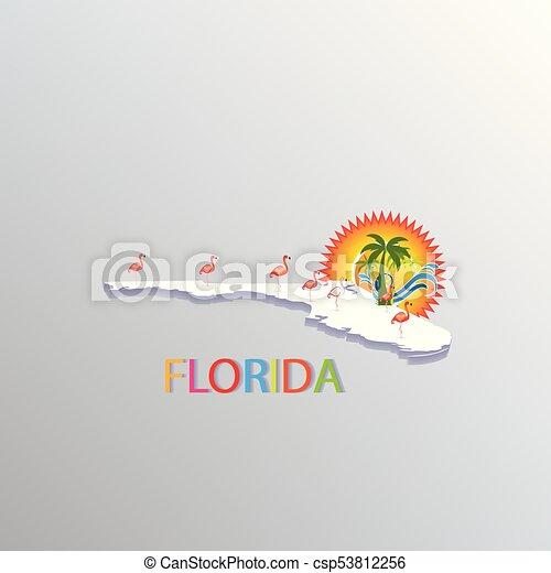 Florida map tropical symbol - csp53812256