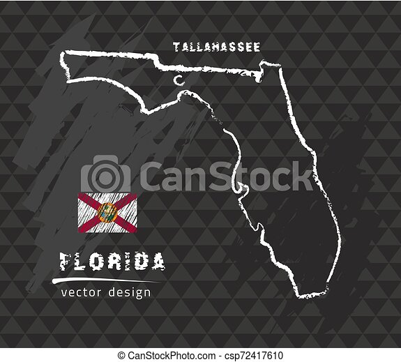 Florida map, vector pen drawing on black background - csp72417610