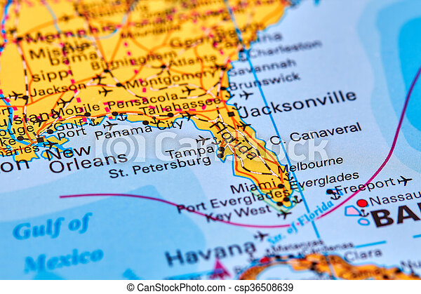 Florida on the map. Florida, state in usa on the world map.