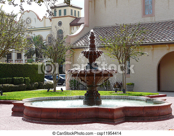 Florida Spanish Architecture A Fountain And Stock