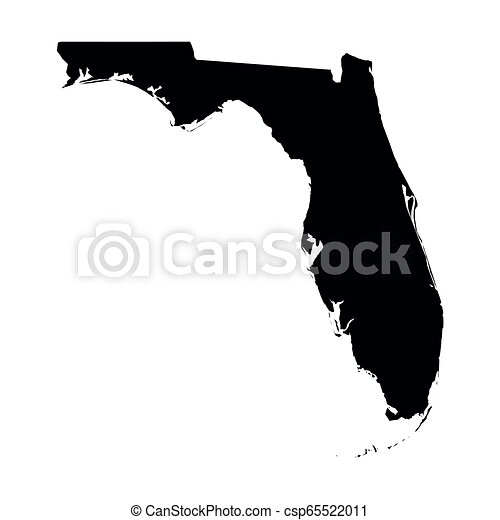 Florida State Of Usa Solid Black Silhouette Map Of Country Area Simple Flat Vector Illustration