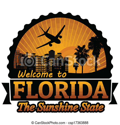 Welcome to florida travel label or stamp on white, vector ...
